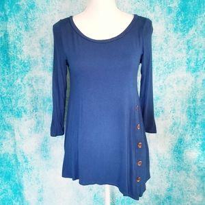 Assymetrical Button Detail Blue Shirt